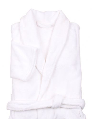 WHITE COLOUR LUXURY FLEECE MICROFIBRE BATH ROBE
